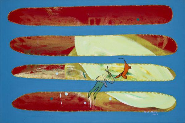 rolf jahn begegnung 2011 acrylfarbe auf leinwand 80 x 120 cm