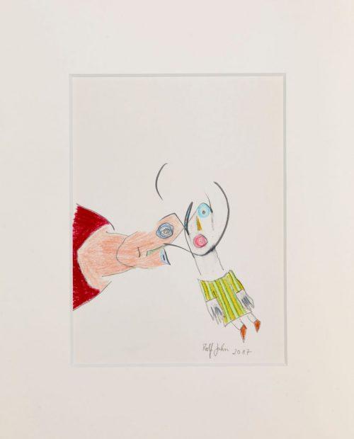 rolf jahn schreihals 2017 blei und buntstift auf papier 30 x 24 cm