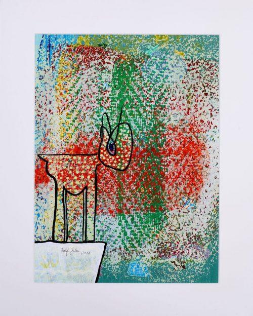 rolf jahn tier 2011 acrylfarbe auf papier 50 x 40cm