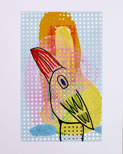 rolf jahn vogel 2012 acrylfarbe auf papier 50 x 40 cm