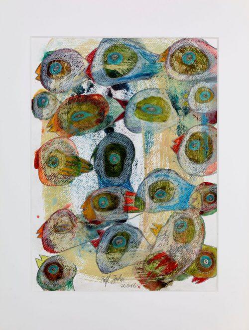 rolf jahn vogelbande 2016 mischtechnik auf papier 40 x 30cm