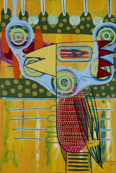 rolf jahn afrikanischer vogel 2018 acryl auf leinwand 150 x 100 cm verkauft