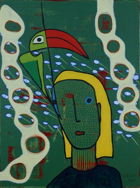 rolf jahn vogelfreund 2004 acryl auf leinwand 120 x 90 cm